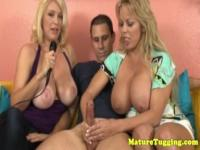 Wanking monsterboobs milf duo making dude cum