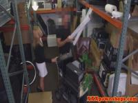 Pawnshop milf sucking on dick for cash deal