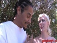 Nasty blonde bitch Cherry Torn double fucked by black dudes