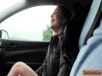 Cute blonde teen Alessandra Jane screwed in the backseat