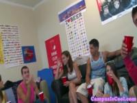 Coed college amateurs in dorm room orgy