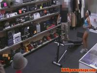 Real ebony pawnshop amateur showing goods