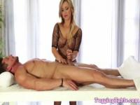 Cfnm glamour blonde topless at tug table