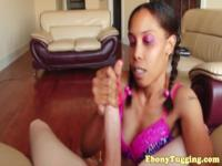Nubian teen wanking hard cock in pov