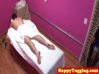 Asian spycam masseuse tugs dick