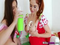 Milky fetish cumshot trio