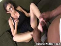 Busty chick foot fucks