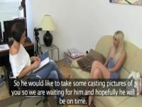 Skinny blondie makinglove on fake casting