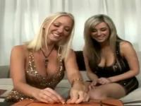 Two alluring blonde bitches fuck with a dildo