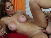 Aged female with hot boobs taking part in hard core porn video