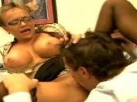Deepthroat with hot boobs is acting in hard fuck action in office