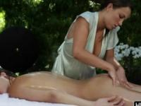 Malena Morgan in wonderful masseuse lesbian sex movie in outdoor