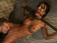 Tied Asian busty gets her pussy eaten