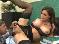 Milf with hot hooters in dick sucking porno in office