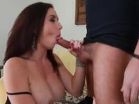 Babe is acting in blowjob porn scene