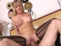 Porn clip with big breasted blonde fucking