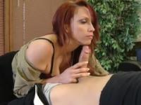 Milf with hot hooters in cock sucking porn movie in office