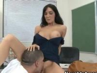 Coed brunette gets fucked by the janitor