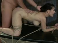 Tied chick gets fucked hard in the ass