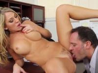 Beauty with hot huge tits taking part in hard core porn video in office