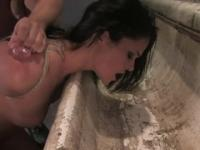 Coed brunette hottie got mouth-fucked
