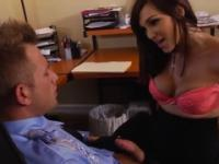 Playgirl in dick sucking porn in office