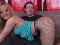 Skinny blonde minx gives a guy a blowjob