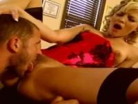 Big breasted blonde angel enjoys receiving a head