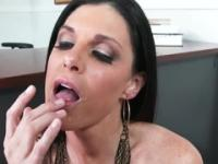 Milf in spunk flow sex action in office
