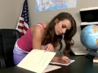 Beauty taking part in porn in office