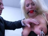 Boss ties his breasty blonde secretary