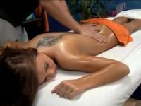 Babe Whitney with hot round butt taking part in massage sex movie