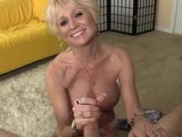 Blonde mature maid is acting in ejaculation porn action