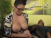 Brunette aged female Stacie Starr with hot huge tits in spunk flow sex movie