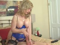 Blonde aged female Nina Hartley in tugjob porno movie