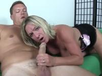 Golden-haired mom is acting in ejaculation porn movie