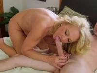 Blonde mom with hot large breasts taking part in butt fuck porn