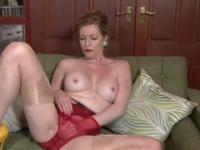 Blonde mature is acting in masturbation porno video