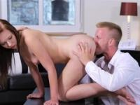 College-aged sweetie fucks and gets cum on titties