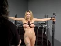 Golden-haired taking part in bondage porn action