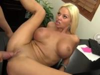 Golden-haired Nikita Von James with hot hooters in action