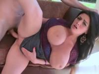 Brunette with hot large breasts taking part in porno action