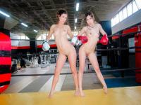 Hot lesbians battle for dominance in the ring