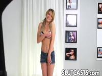 A sweet little blonde gets naked at an audition