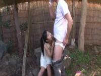 Asian girl gets a golden shower