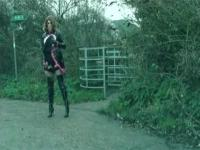PVC Maid Aliboy Thighbootboy country lane wank