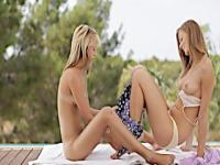 Two excellent cute slim blonde lesbian porn teens