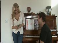 Housewife julia ann pleasures her man