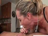 Busty housewife deepthroats in threeway