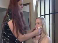 Lesbian bondage with blonde hottie satine sparks